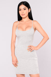 Nova Season Dress - Heather Grey Angle 1