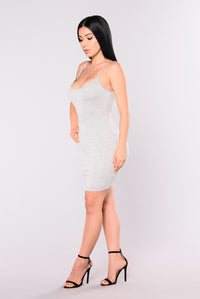 Nova Season Dress - Heather Grey Angle 4