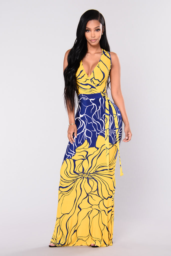 Ivanna Maxi Dress - Yellow/Blue