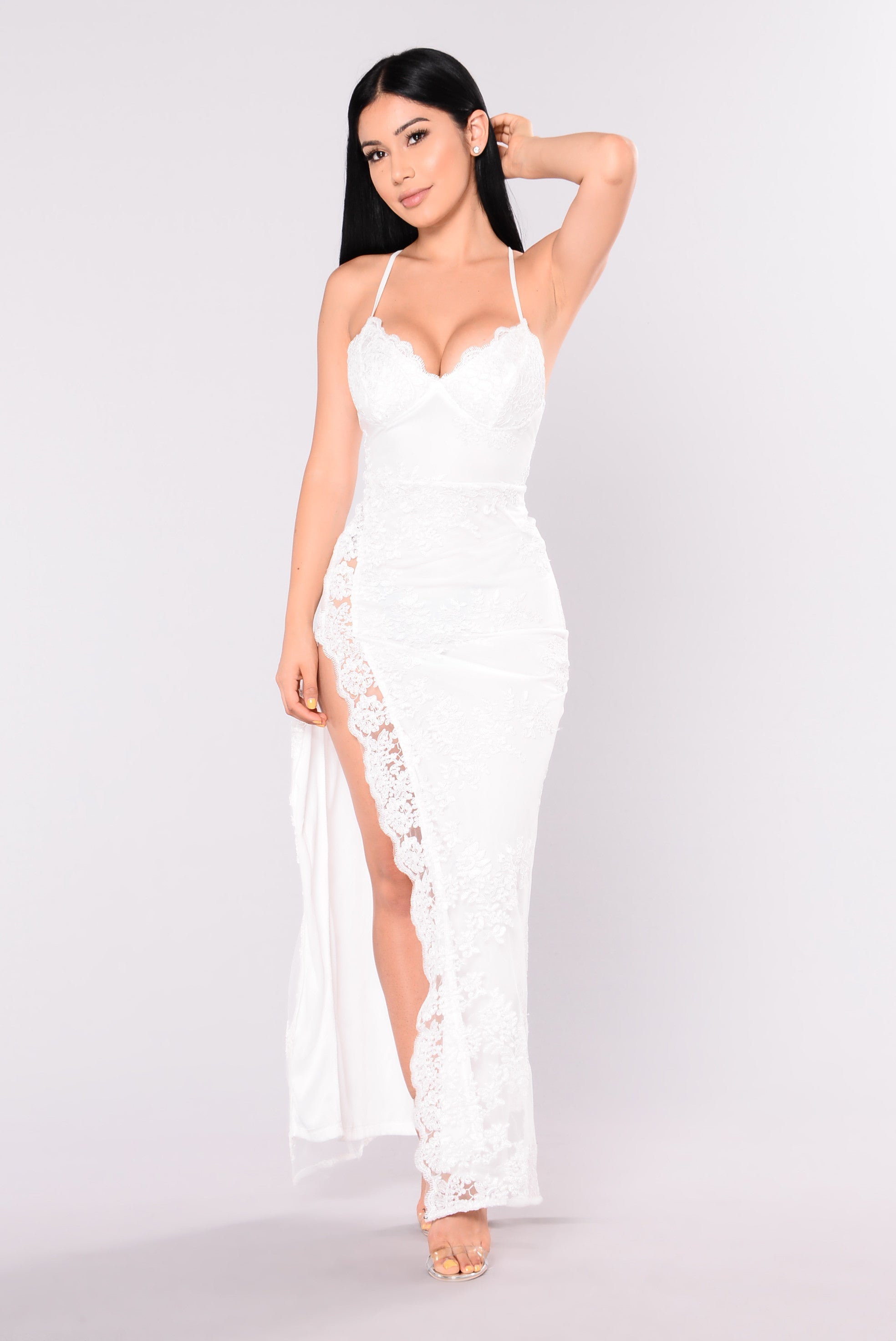 a night in tokyo lace dress white