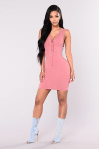 Rosaline Lace Up Dress - Rust
