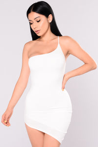 What's Your Sign Asymmetrical Dress - Ivory