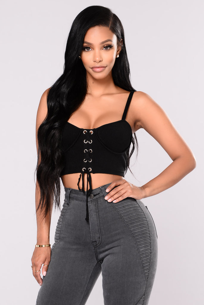 Mckenzie Lace Up Crop Top - Black