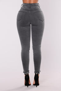 Alessia Ribbed Jeans - Dark Grey