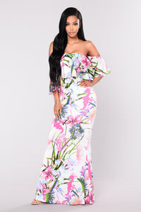 Luau Party Floral Dress - Ivory Multi