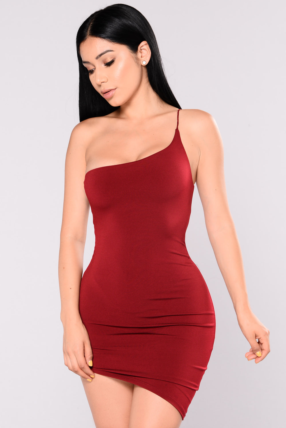 What's Your Sign Asymmetrical Dress - Burgundy
