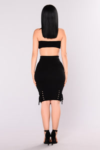 Linzy Lace Up Knit Skirt - Black