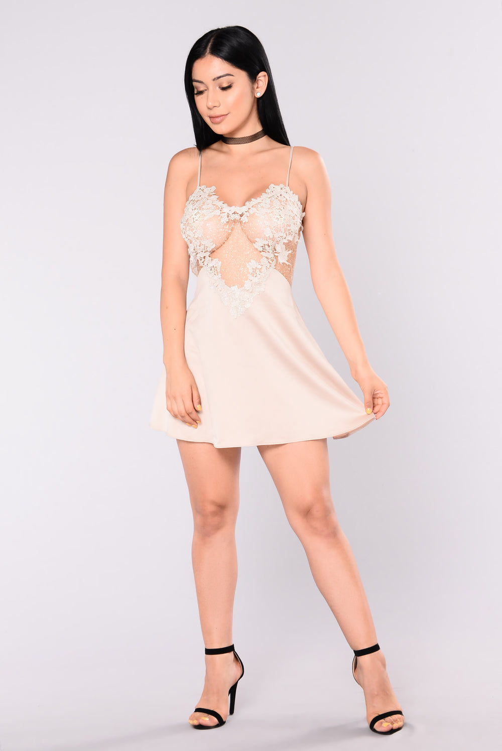 She Gets Down Chemise - Champagne