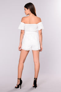 County Girl Smocked Romper - White