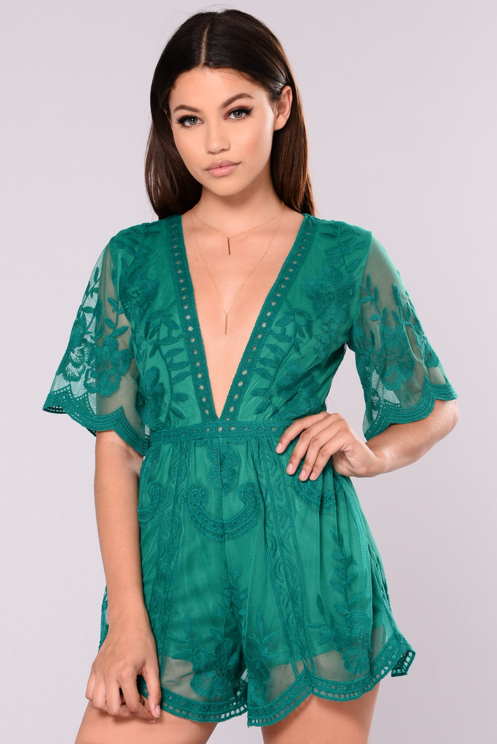 Set Our Love On Fire Romper - Emerald