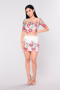 Ring Around The Rosie Floral Set - Ivory Multi