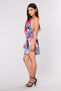 Lady Tropicana Dress - Red/Blue