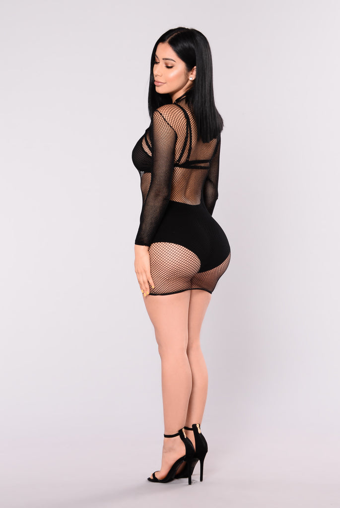 Kia Fishnet Dress - Black
