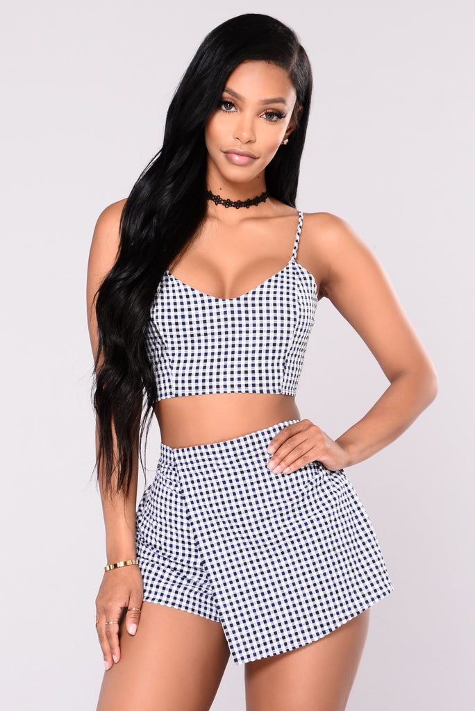 Edyn Gingham Top - Navy