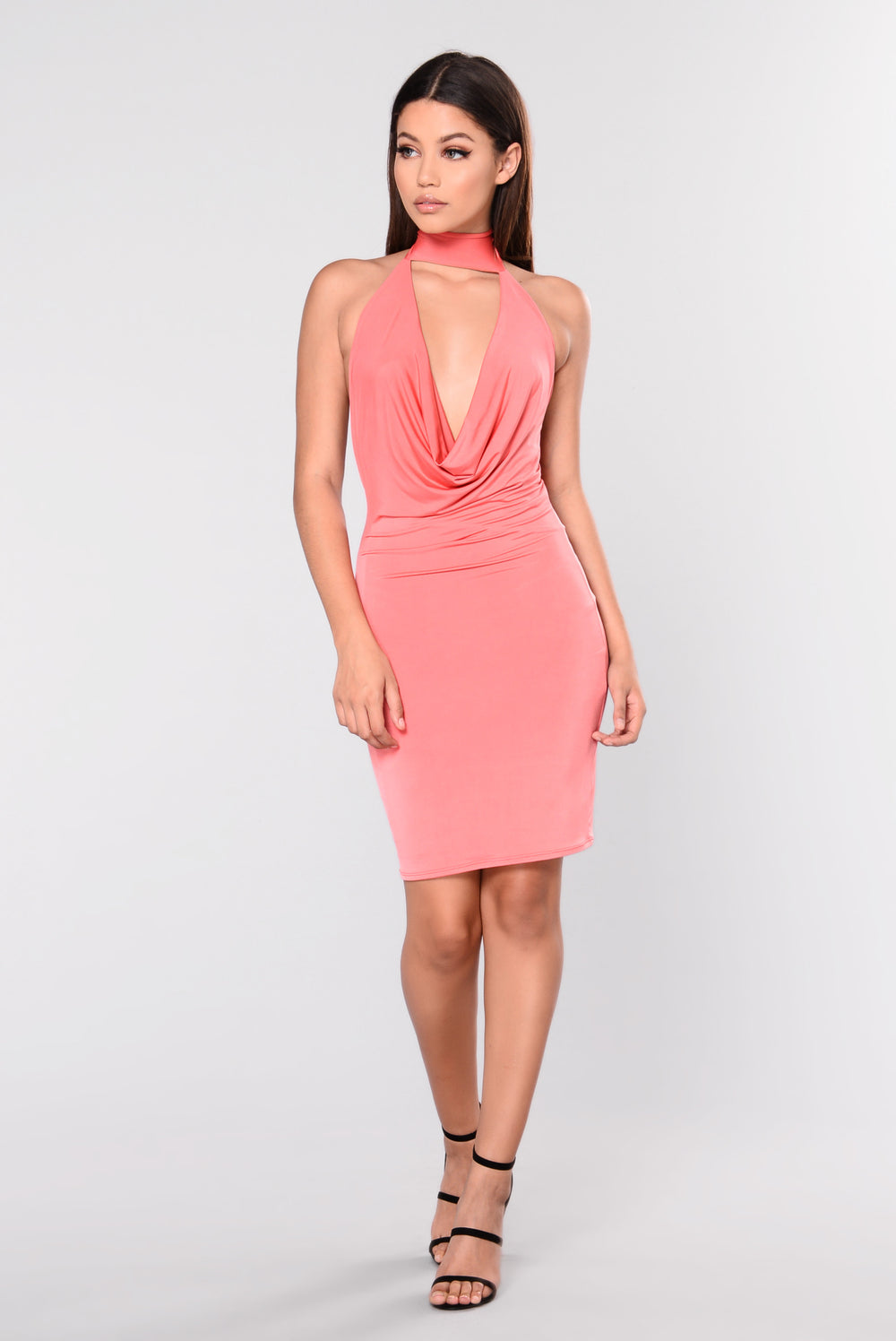 Twiggy Chocker Dress - Dark Coral