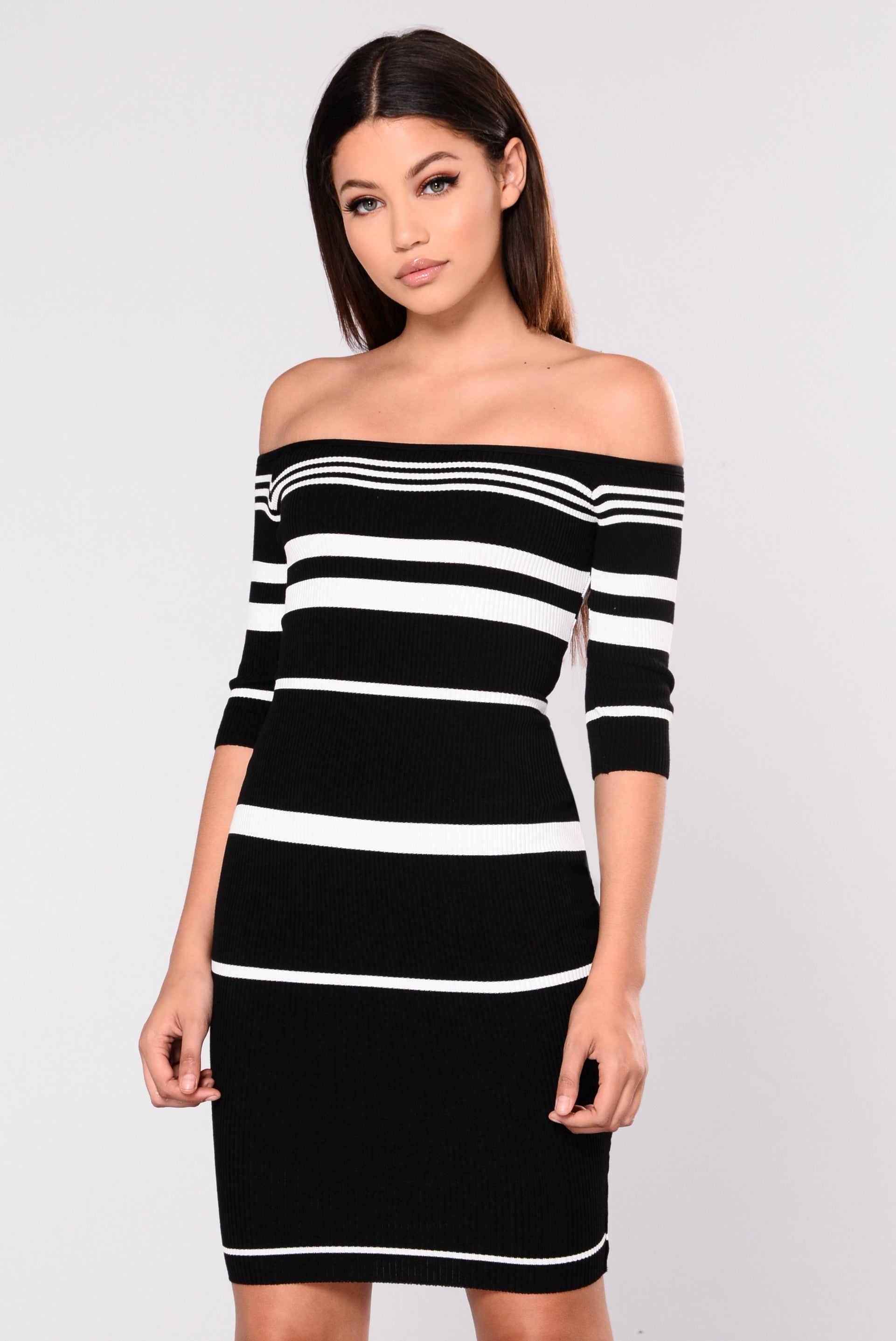 Shora Striped Dress Black White