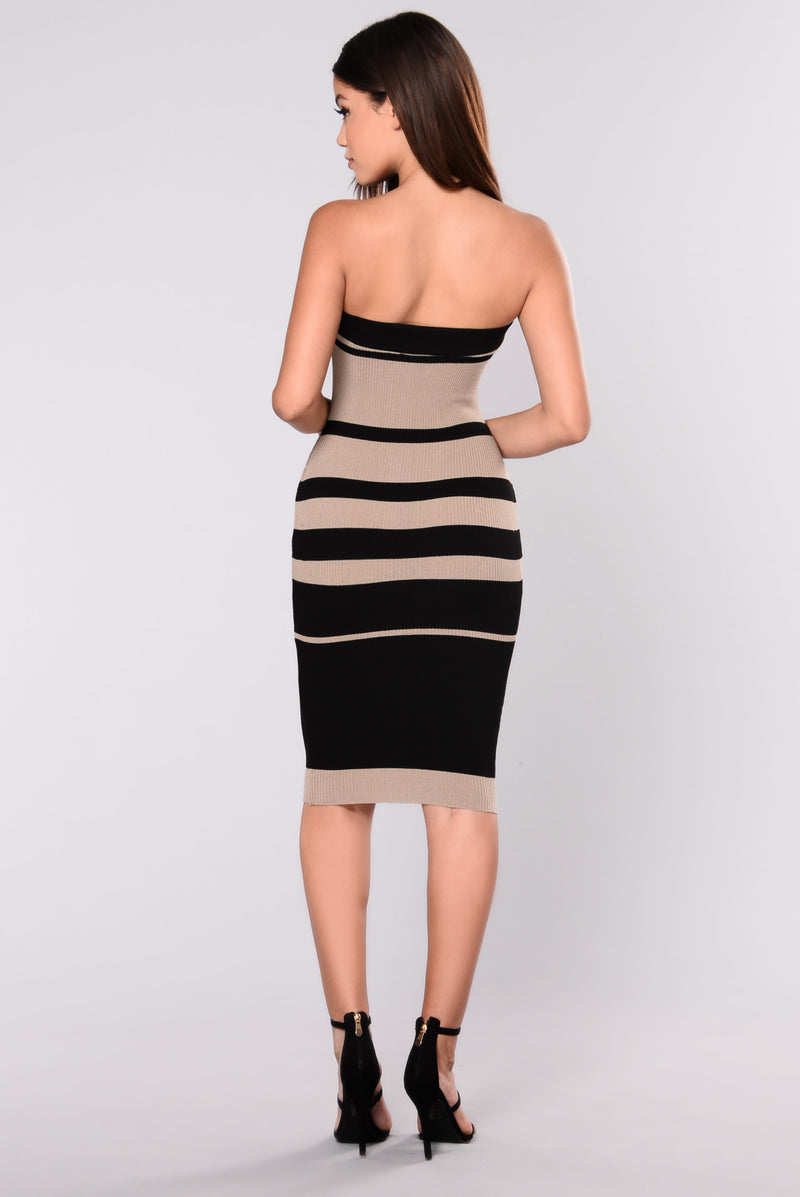 Winnie Striped Dress - Black/Taupe