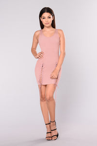 Taelyn Ribbed Dress - Blush Angle 1
