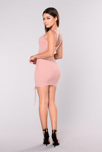 Taelyn Ribbed Dress - Blush Angle 4