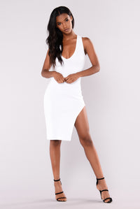 Charlee Ribbed Dress - White