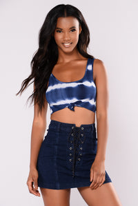 Jojo Tie Dye Crop Top - Navy