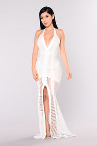 Chateau Mermaid Dress - White/Nude