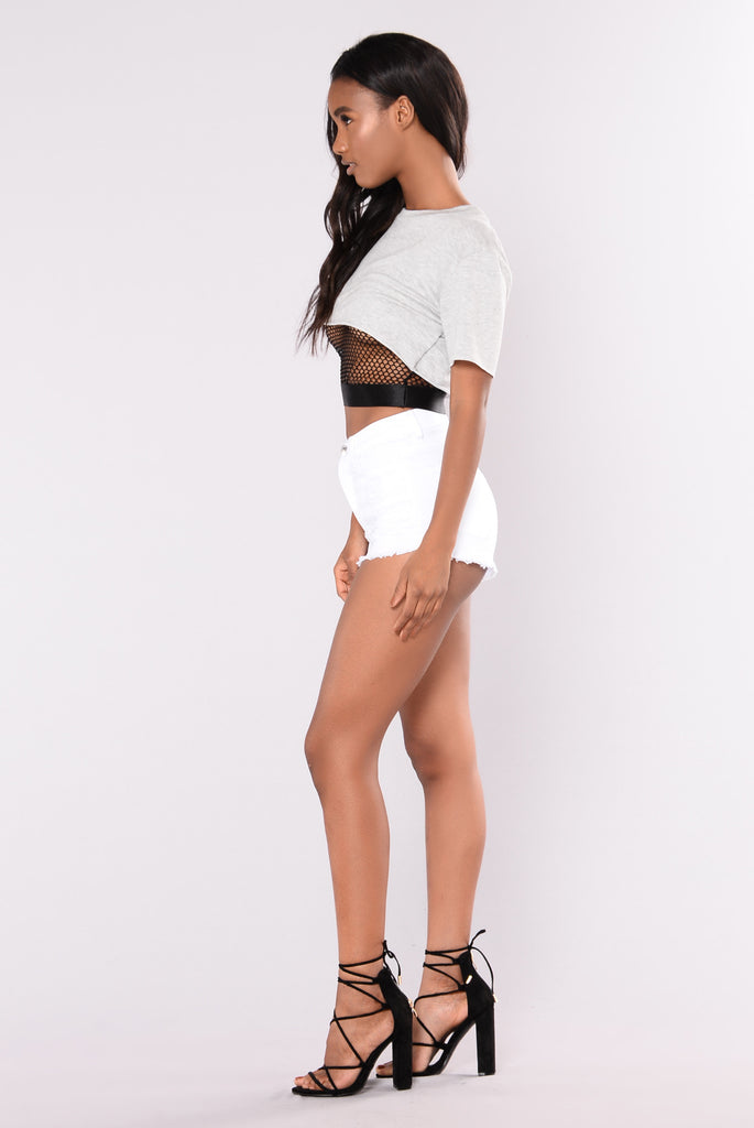 Summer Fling Denim Shorts - White