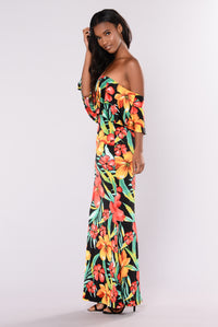 Paradise Peak Floral Dress - Black Multi