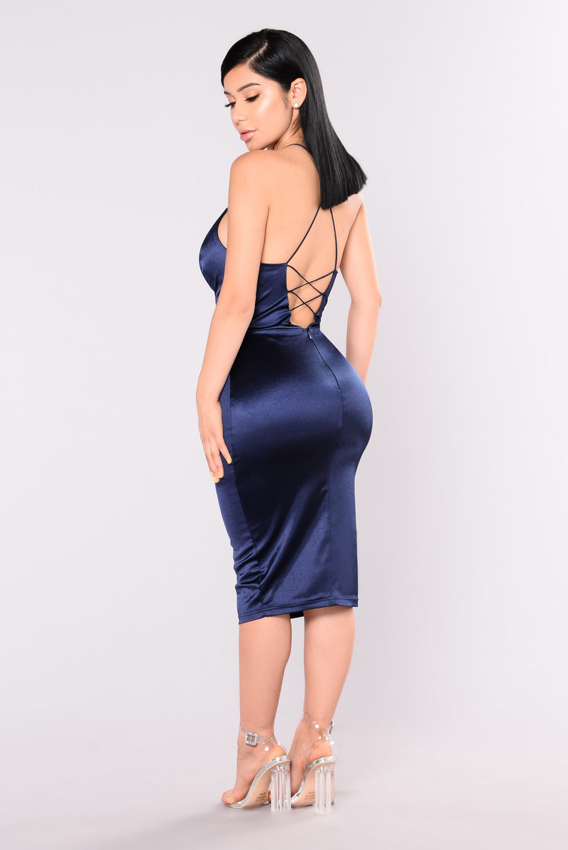 KoKo Satin Dress - Navy