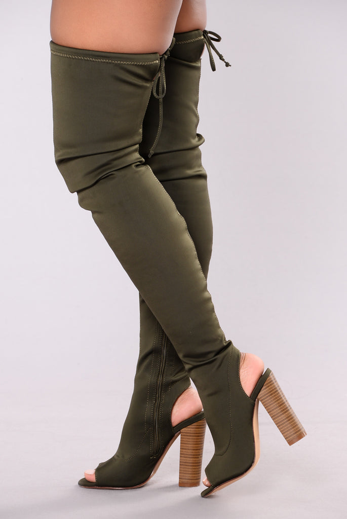 Zara Peeping Boot - Olive
