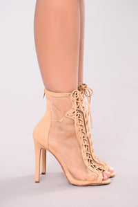 Breezy Mesh Lace Up Bootie - Nude