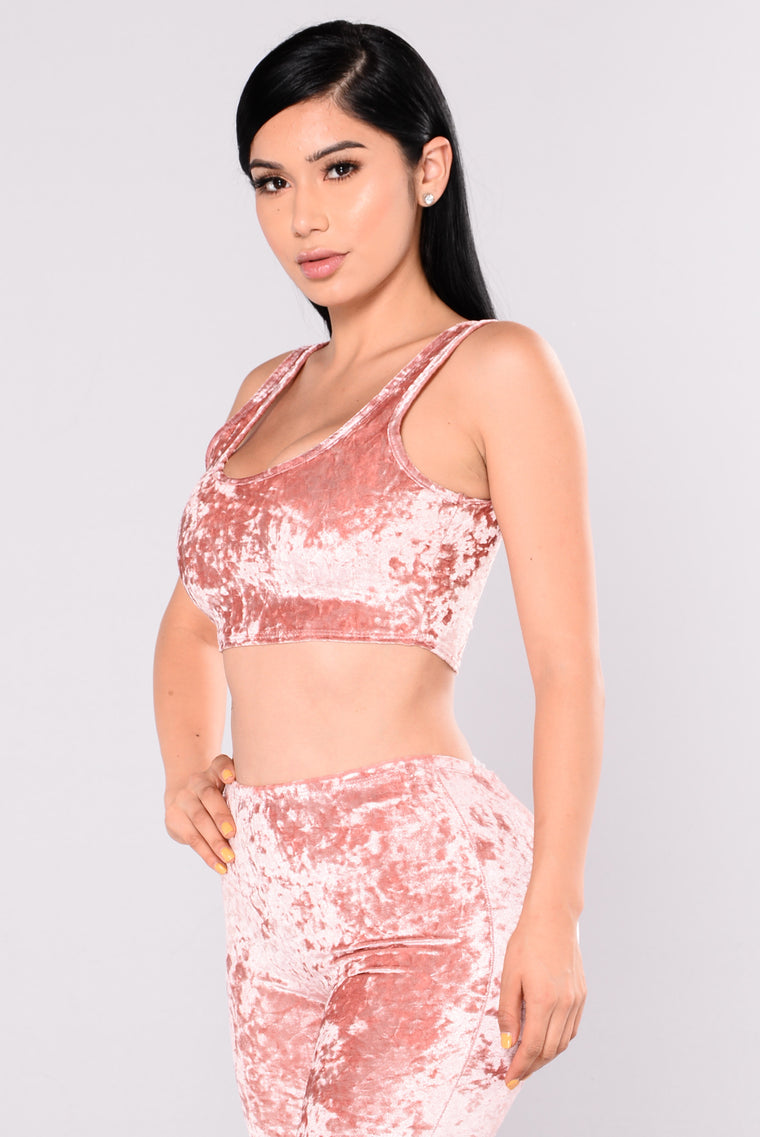 Crushed By You Velvet Set - Mauve
