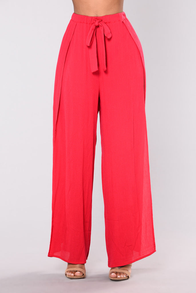 Hally Wide Leg Pants - Red