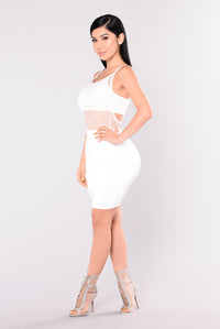 Rose Mary Fish Net Bodysuit - White
