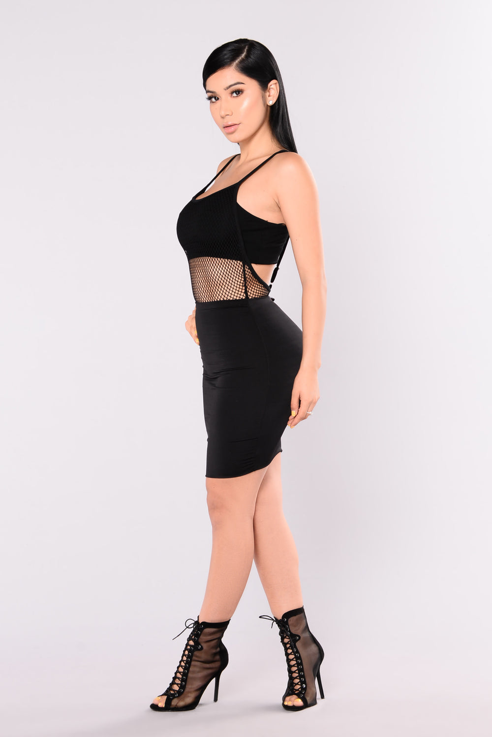 Rose Mary Fish Net Bodysuit - Black