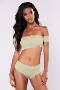 Cullens Distressed Shorts - Olive Angle 3