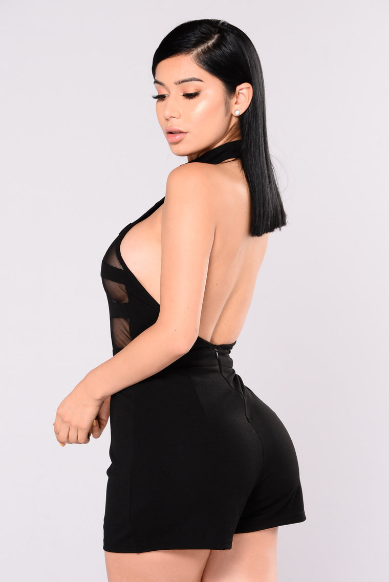 Shadow Mesh Romper - Black
