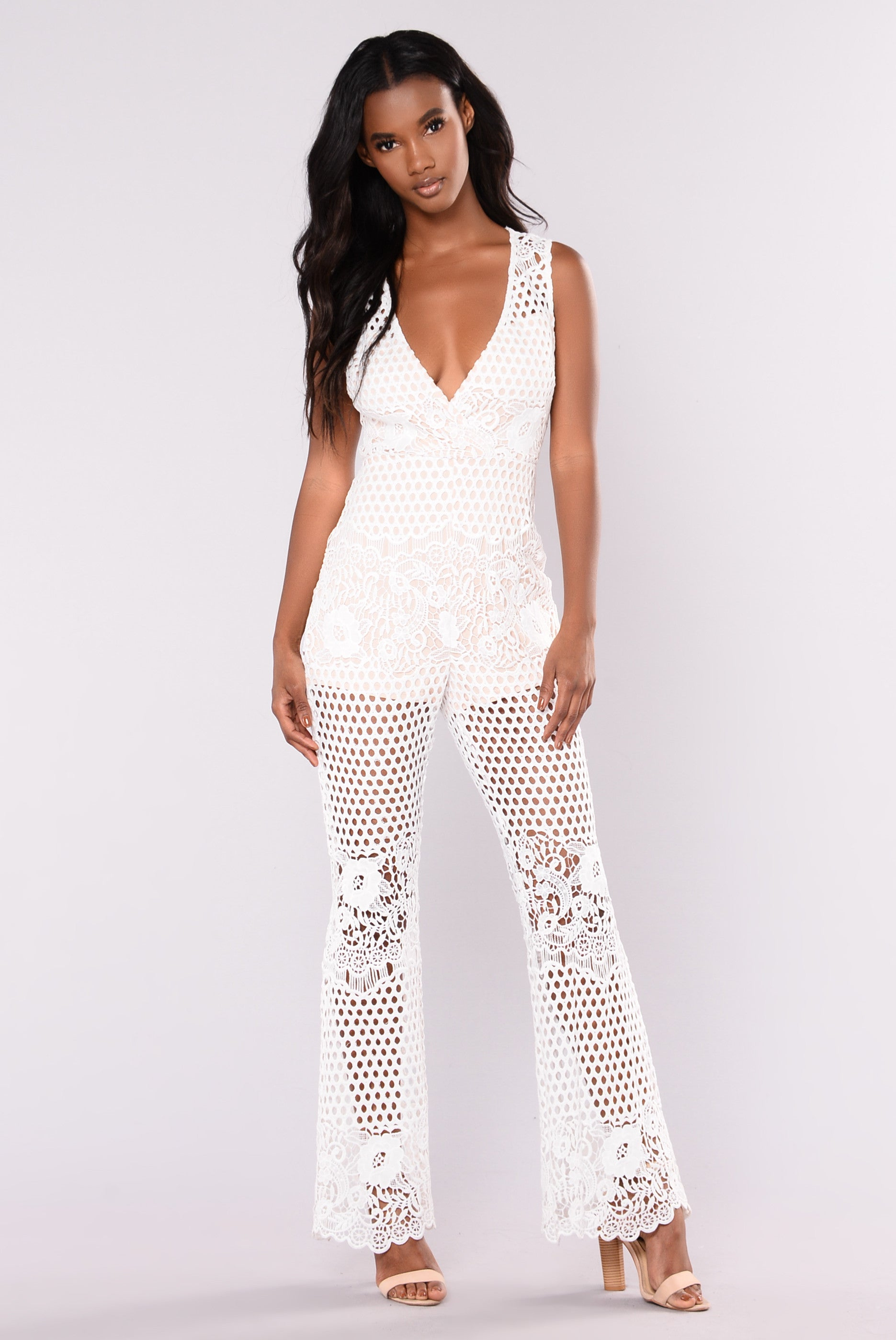 Early Bloomers Lace Jumpsuit White