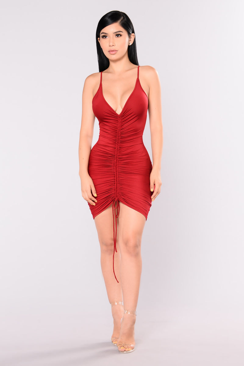 Shanghai Ruched Dress - Burgundy