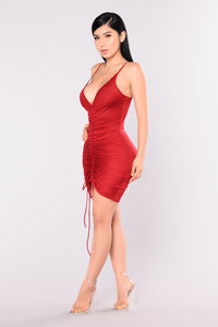 Shanghai Ruched Dress - Burgundy Angle 5