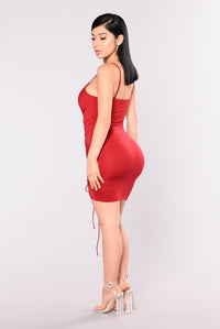 Shanghai Ruched Dress - Burgundy Angle 6