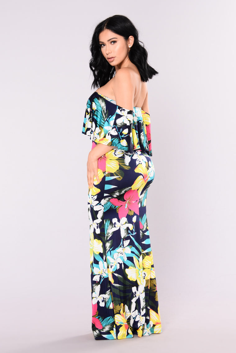 Tropical Lover Dress - Navy