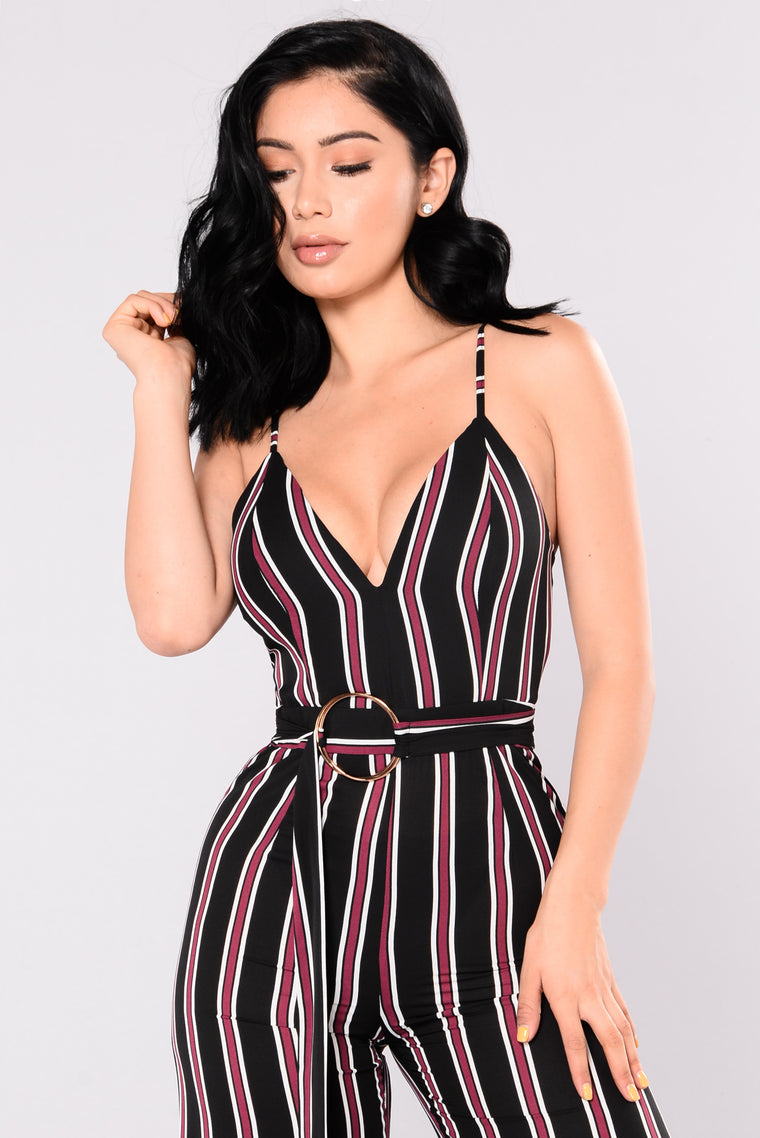 Porter Jumpsuit - Black/Wine