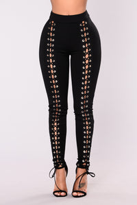 X's And O's Lace Up Pants - Black Angle 1