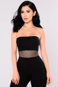 Kameron Fishnet Jumpsuit - Black