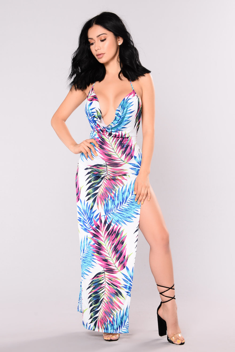 Beachin Maui Cover Up Dress - White Multi