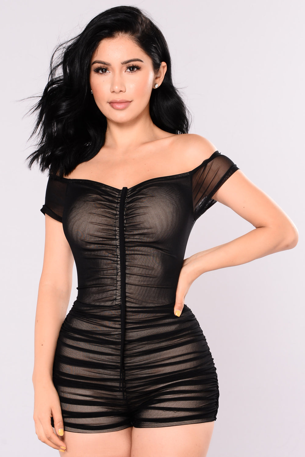 Damsel In Mesh Romper - Black