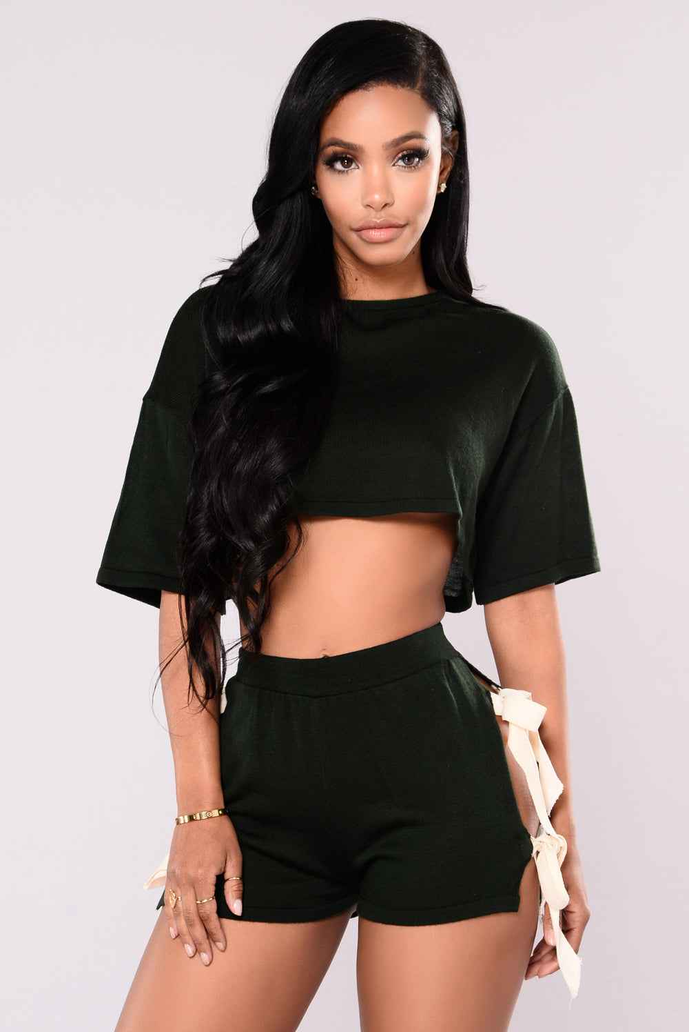 Yoselin Crop Tee - Hunter Green