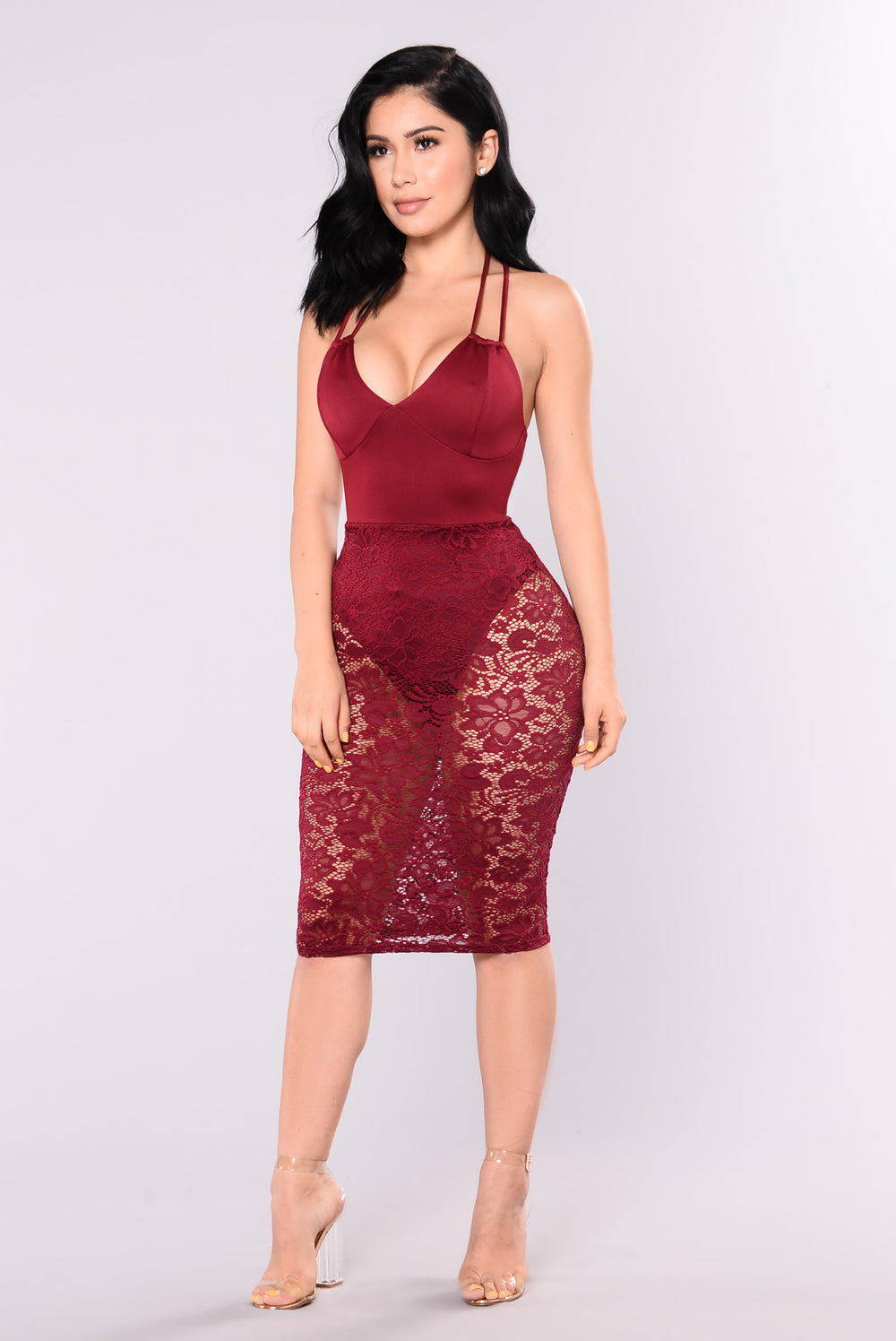 More Lace Please Dress - Wine