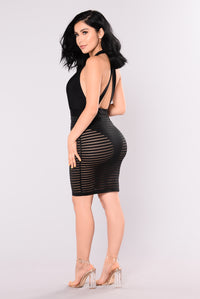 Amelia Shadow Mesh Dress - Black